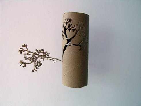 tree cut out of toilet paper roll