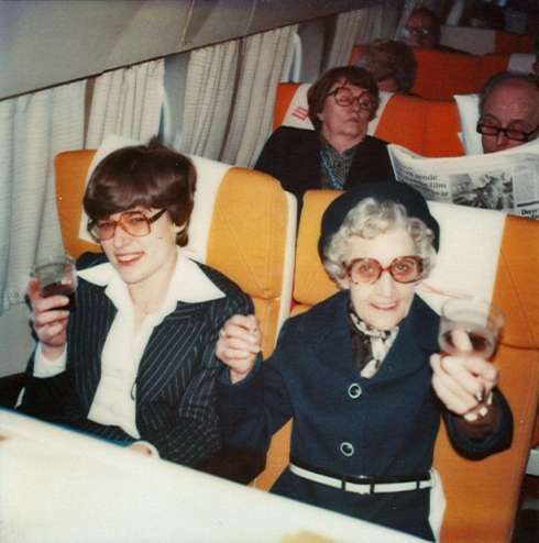 vintange photo of women on an airplane