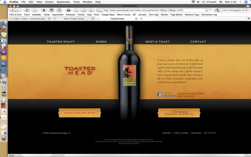 toasted head winery website design